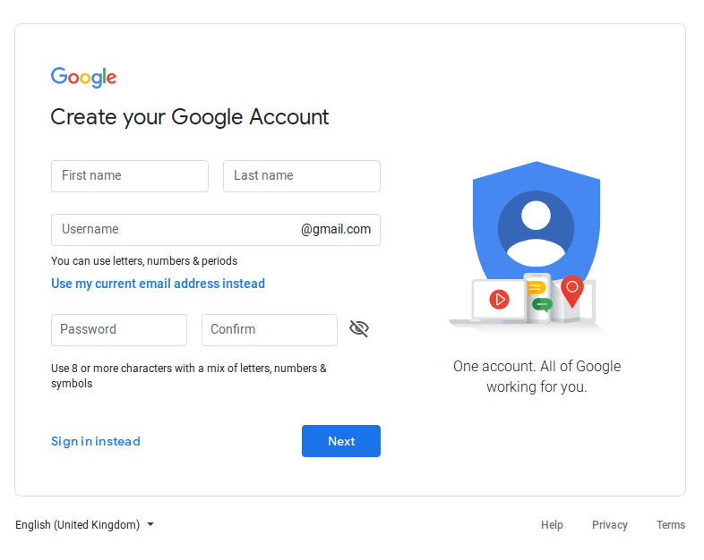 Create your Ggogle Account screenshot